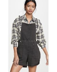 Free People Natural Sights Linen Overalls - Black