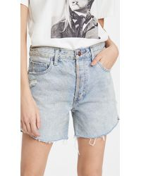 Free People Baggy Tomboy Cutoff Shorts - Blue