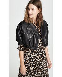 Yigal Azrouël Leather Puff Sleeve Moto Jacket - Black
