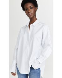 GOOD AMERICAN Tabbed Poplin Shirt - White