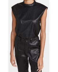 Tibi Faux Leather Mock Neck Top - Black