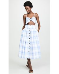 Fame & Partners Button Front Top And Skirt Set - Blue