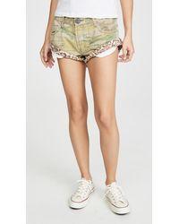 One Teaspoon Safari Camo Bandits Denim Shorts - Multicolour