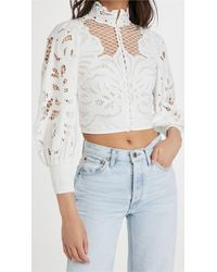 Alice + Olivia Yaz Crop Blouse - White