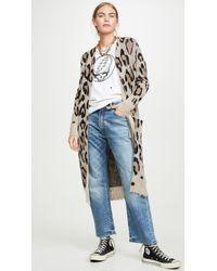 R13 Cashmere Long Leopard Cardigan - Multicolor