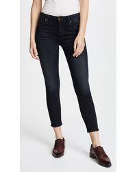 Mother The Cropped Looker Skinny Jeans - Brown
