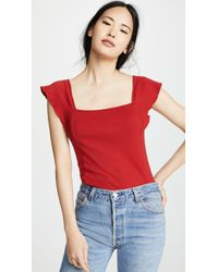 Three Dots - Flutter Sleeve Square Neck Top - Lyst