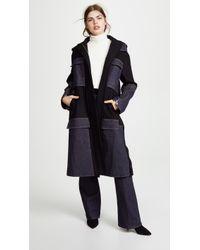 ADEAM - Anorak Coat With Denim Panel - Lyst