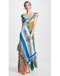 Tory Burch Printed Frilled Sleeve Maxi Dress - Blue