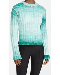 Area Fitted Pullover Jumper With Crystal Stitch - Multicolour