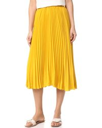 Endless Rose Pleated Long Skirt - Yellow
