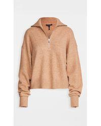 Marissa Webb Wesley Boyfriend Fit Zip Front Sweater - Natural