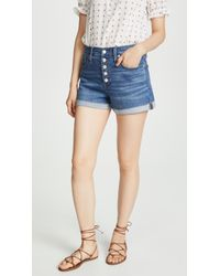 Madewell High Rise Denim Shorts In Derby Wash: Button-front Edition - Blue