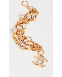 What Goes Around Comes Around Chanel Gold Cyrstal Cc Bracelet - Metallic