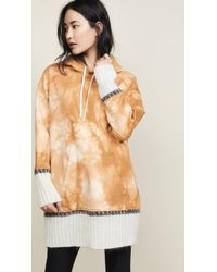 3.1 Phillip Lim Tie Dye Hoodie With Mohair Ribs - Natural