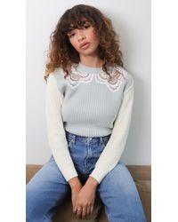 Self-Portrait Guipure Sweater - Multicolor