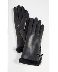 Agnelle Aliette Fur Gloves - Black