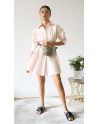Brandon Maxwell Mini Shirt Dress - Pink