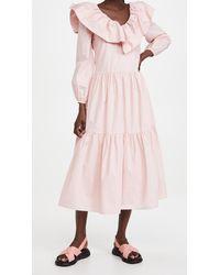 English Factory Ruffled Neck Midi Dress - Pink