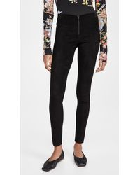 Alice + Olivia - Front Zip Suede Leggings - Lyst