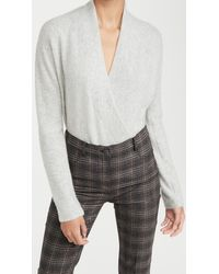Vince Wrap Front Cashmere Pullover - Grey