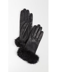 Agnelle Boa Alpaca-trimmed Leather Gloves - Black