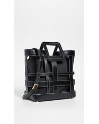 STAUD 'shirley Plaid' Woven Leather Tote Bag - Black