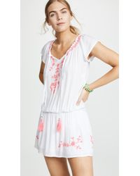 Tiare Hawaii Tulum Off The Shoulder Embroidered Dress - Pink