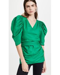 Proenza Schouler Linen Viscose Shirred Sleeve Top - Green