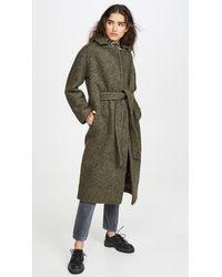 Ganni Boucle Wool Coat - Green
