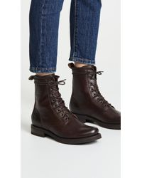 Frye Veronica Combat Boots - Brown