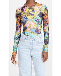 Versace Jeans Couture Belts Print Bodysuit - Blue