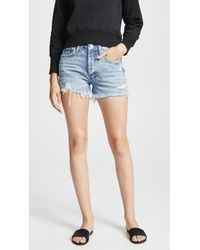 Agolde Parker Vintage Loose Fit Cutoff Shorts - Blue