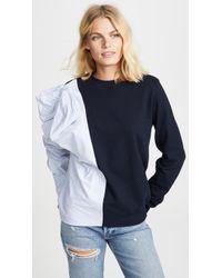 CLU - Contrast Striped Bow Sweatshirt - Lyst