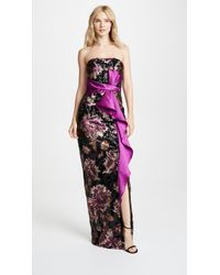 Marchesa notte - Strapless Sequined Peony Gown - Lyst