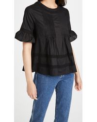 English Factory Lace Boho Blouse - Black