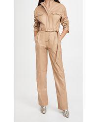 Jonathan Simkhai Katerina Vegan Leather Utility Jumpsuit - Natural