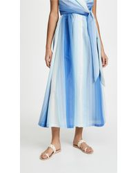 By Any Other Name Shirred Waist Tea Skirt - Blue
