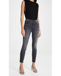 Mother High Waisted Looker Ankle Fray Jeans - Blue