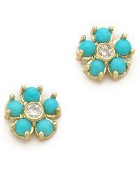 Jennifer Meyer Turquoise Flower Diamond Stud Earrings - Blue