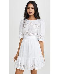 La Vie Rebecca Taylor Short Sleeve Sarcelle Dress - White