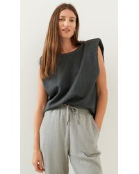 Endless Rose Padded Shoulder T-shirt - Grey
