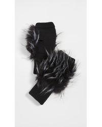 Jocelyn Long Hair Faux Fur Texty Time Mitten - Black