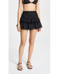 Charo Ruiz Greta Crocheted Lace-paneled Cotton-blend Mini Skirt - Black