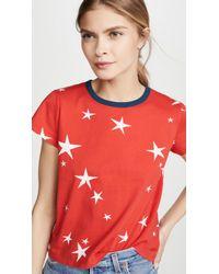 Pam & Gela Star Print Logo Crop Tee - Red