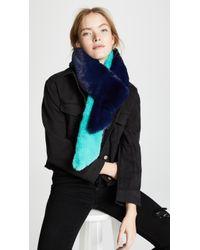 Heurueh Long Skinny Faux Fur Scarf - Blue