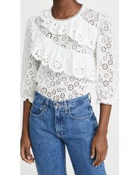 English Factory Eyelet Ruffle Blouse - White