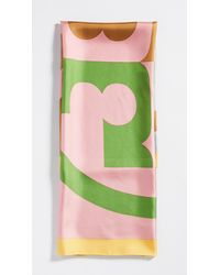 Tory Burch Colorblock Logo Silk Square Scarf - Pink
