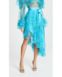 Rodarte Asymmetrical Lace Skirt - Blue