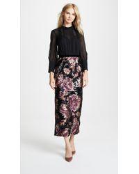 Marchesa notte Column Gown W/ Chiffon Bodice & Sequin Skirt - Black
